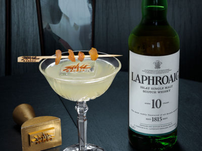 Laphroaig single malt Scotch Whisky and Savage Garden London Penicillin cocktail.